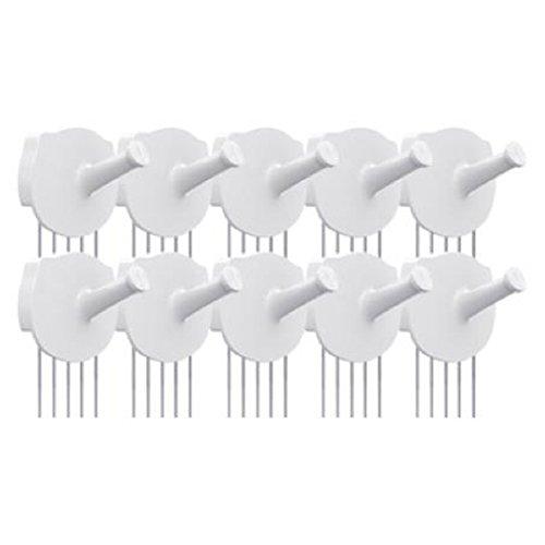 HOTLISTOR Reusable Multipurpose Wall Hook White 5PCS 10PCS Decorative Pin Stick Hooks Office Partition Panel Hanger Home Kitchen (10 - Hooks) by HOTLISTOR