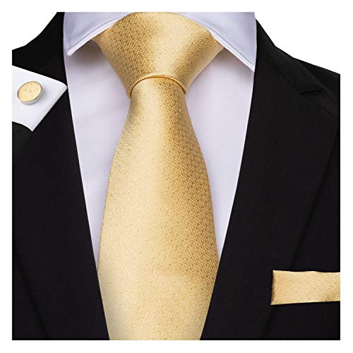 DiBanGu Men's Necktie Handkerchief Silk Woven Tie Pocket Square Cufflink Set (Yellow)