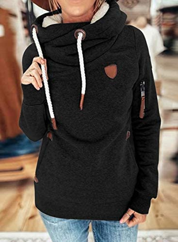 SHIPE Women Fashion Cowl Neck Hoodie Casual Color Block Loose Pullover Long Sleeve Sweatshirt Jumpers Tops