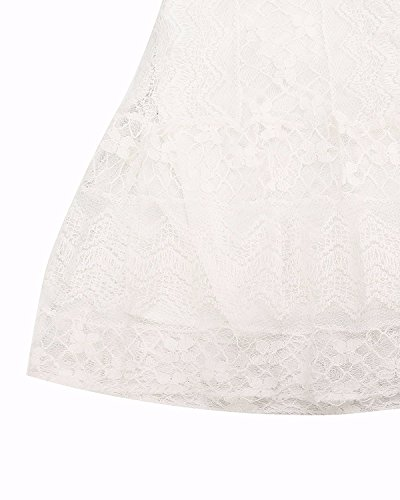 crochet Encaje mujeres cortos Blanco Fortuning's las para JDS casual mangas mini sin elegante vestidos ECwqx7F5B