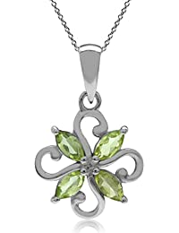 Natural Peridot 925 Sterling Silver Victorian Style Flower Pendant w/ 18 Inch Chain Necklace