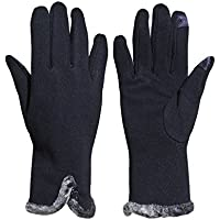 Beurlike Women's Winter Gloves Touch Screen Thick Fleece Lined Warmest Gloves