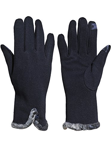 Beurlike Women's Winter Gloves Touch Screen Thick Fleece Lined Warmest Gloves (Button - Black), One Size (Gloves Fleece Womens)