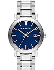 Burberry Embossed Blue Dial Stainless Steel Quartz Mens Watch BU9031