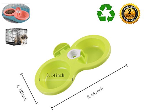 Pet Food Water Bowl Hanging in Cage Double Feeding Station for Small Medium Dogs Cats-Green