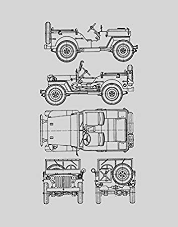 Amazon jeep blueprint print car wall art gift choose your jeep blueprint print car wall art gift choose your model 11x14 malvernweather Images