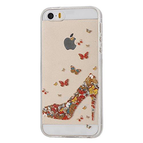 Funda para iPhone 6 6S, funda de silicona transparente para iPhone 6 6S, iPhone 6 6S Case Cover Skin Shell Carcasa Funda, Ukayfe caso de la cubierta de la caja protectora del caso de goma Ultra Delgad Farfalla Tacco