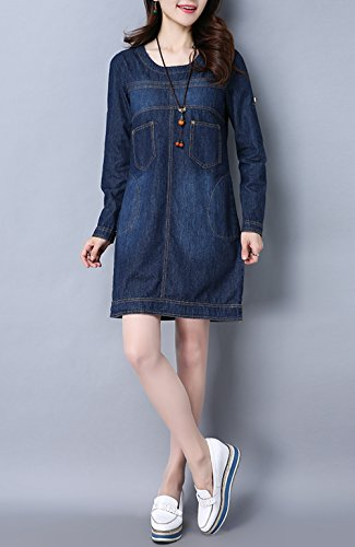 Damen Sommer Jeanskleid Beiläufige Rundhals Langarm Lose Knielang A-Linie Denim Abendkleid Minikleid Hemdkleid Partykleid Blusenkleid Blau003 VFUIUWFrZ