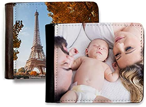 Cartera de Hombre Personalizada con Fotos y Texto | Máxima Calidad de impresión | Espacio para 8 Tarjetas | Tamaño 12 x 10 cm | con Porta DNI | Color Negro