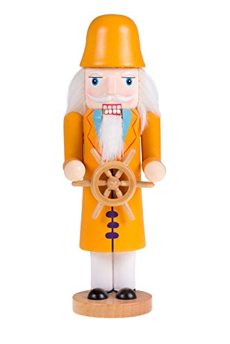 [Traditional Wooden Sea Captain Nutcracker with Wheel by Clever Creations | Festive Holiday Décor | 10