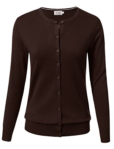 ARC Studio Women Button Down Long Sleeve Crewneck Soft Knit Cardigan Sweater L Brown