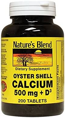 Nature's Blend Oyster Shell Calcium 500 mg with D3 200 Tabs