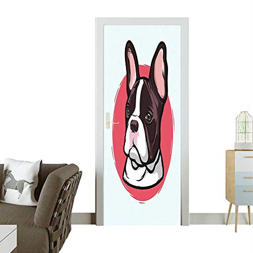 - Door Sticker Bulldog Portrait Hipster Purebred Creature Baby Blue Red Brown Removable Door Decal for Home DecorW35.4 x H78.7 INCH