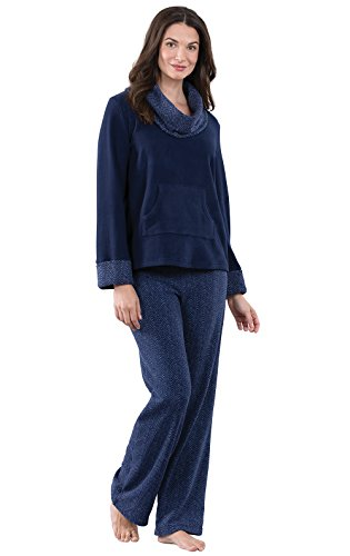 PajamaGram Super Soft Pajamas for Women - Fleece, Navy Herringbone, XSM (2-4) ()