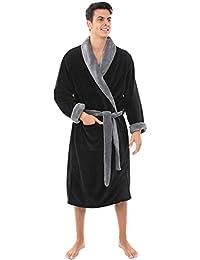 Mens Solid Color Fleece Robe, Shawl Collar Bathrobe