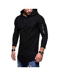 OGOUGUAN Tyjtyrjty Men's Solid Color Round Neck Hooded Long Sleeve T-Shirt