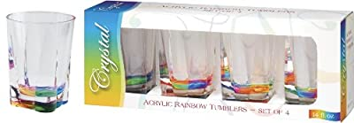 Merritt International Acrylic Drinkware Gift Sets Rainbow Crystal Tumbler, 14-Ounce