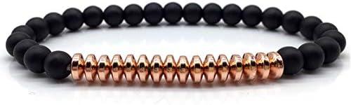 QIZDAN Mode Armband Männer Stein Perlen Metall Matt Charme Perlen DIY Für Männer Armband Schmuck Geschenke