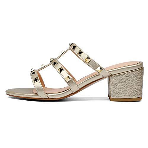 Chris-T Women's Glamorous Platform Dress Pumps Sandals Studs Embellishment Block Chunky Heels 5CM