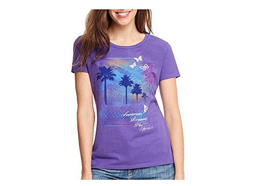 Hanes Women's Short Sleeve Scoop Neck Graphic Tee, Deep Lavender Indi/Summer, (Hanes Live Love Color)
