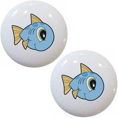 Set of 2 Fish Baby Big Eyes Ceramic Cabinet Drawer Pull Knobs