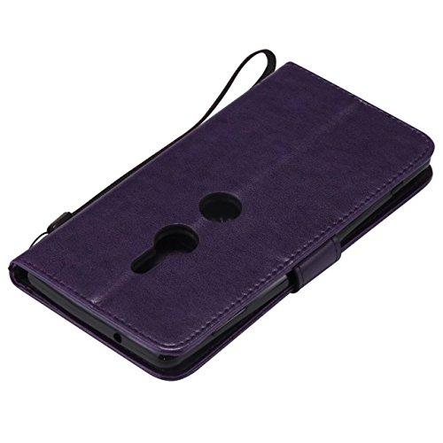 LEMORRY Handyhülle Sony Xperia XZ2 Hülle Ledertasche mit Kartensteckplatz Flip Beutel Haut Bumper Schutz Magnetisch SchutzHülle Weich Silikon Cover Schale für Sony Xperia XZ2, Glücklicher Baum (Grün) Lila