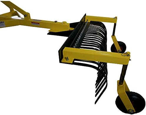 Amazon Com Titan Attachments 4 Ft Landscape Rake With Bolt On Wheels For Compact Tractors Category 1 3 Point Tow Behind Tool Sports Outdoors