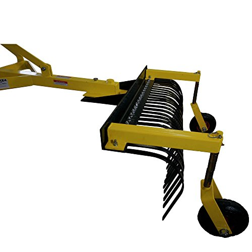 Titan Attachments 4' Landscape Rock Rake 3 Point Soil Gravel Lawn Tow Behind Tractor 4ft w/Wheels