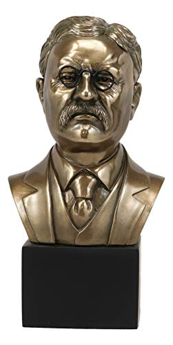 Ebros Gift Bronzed Resin Realistic Replica Historical Sculpture of USA President Theodore Roosevelt Bust Statue 9