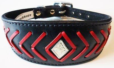 30, 5–35, 6cm Noir/Rouge Poisson os motif Lévrier Whippet en cuir collier pour lévrier 5-35 4doggies