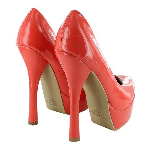 Footwear Sensation - Sandalias de vestir de material sintético para mujer rojo - Coral
