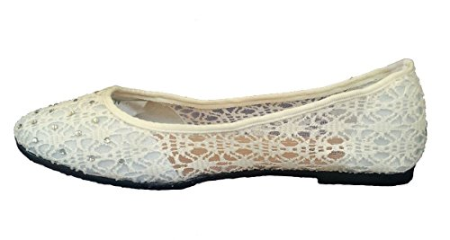 FLATS White WHITE ONS Elegant Summer Womens Classic Rhinestones New Crochet Fashion BALLET SLIP With AAFvw