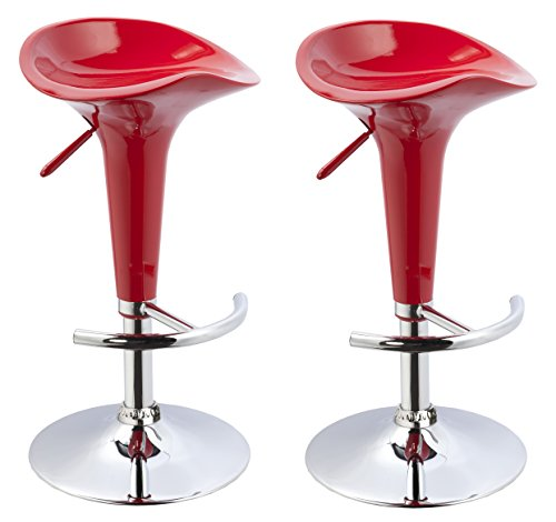 (Duhome 2 PCS Contemporary Bombo Style Gloss Finish Adjustable Swivel Bar Stools Chairs for Bar Counter Top Pub (Red))