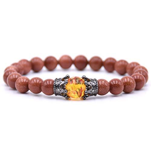 - lancy's jewelry Natural Semi-Precious Gemstone Beaded Stretch Bracelet for Men Women Goldstone 7.5