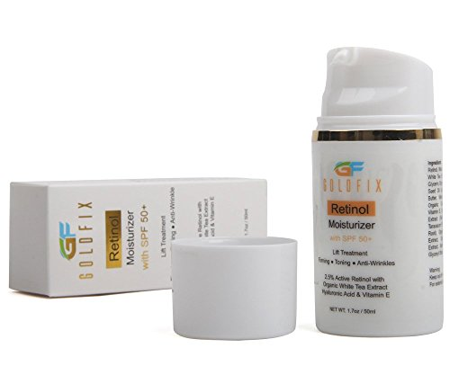 GOLDFIX Retinol Moisturizer with SPF 50+ is a All in One Cream. Sun Protection with Natural Ingredients to Help Reduces Appearance of Fine Lines. Work as Best Lift Treatment. 50ml