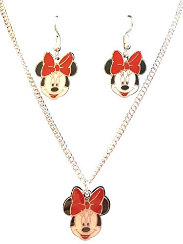 "Porter Gallery USA Minnie Mouse Inspired Charm 16"" Necklace & Earrings Set Gift Boxed with Ornate Organza Gift Bag!"