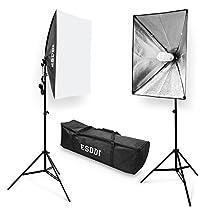 ESDDI Softbox Studio Set Fotografico Portatile, 700W Lampade 2(50x70cm) Softbox Kit Luce Continua 5500K Fotografia, Luci Fotografiche