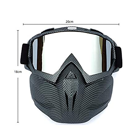 JklausTap Motorbike Glasses Goggles Outdoor Face Mask Cold Weather Windproof Anti-Fog Riding Motorbike Helmet Glasses