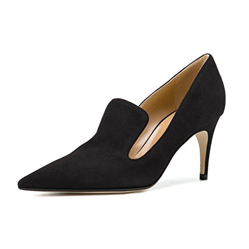 YDN Women's Low Heels Slip on Loafer Stilettos Pumps Pointy Toe Slide Suede Prom Shoes Black 11