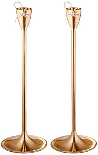 Wedgwood Vera Wang Love Knots Taper Candle Holder Pair, Gold (Wedgwood Love Knots)