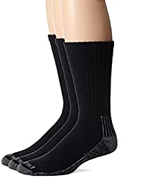 Dickies Men\'s 3 Pack Heavyweight Cushion Compression Work Crew Socks Black 12-15