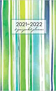 2 Year Pocket Planner 2021-2022: Line Brush Watercolor ...