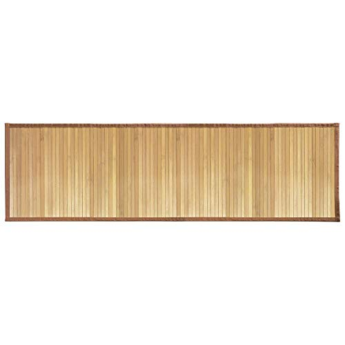 mDesign Water-Resistant Bamboo Floor Mat for Bathroom - Extra Large, Natural