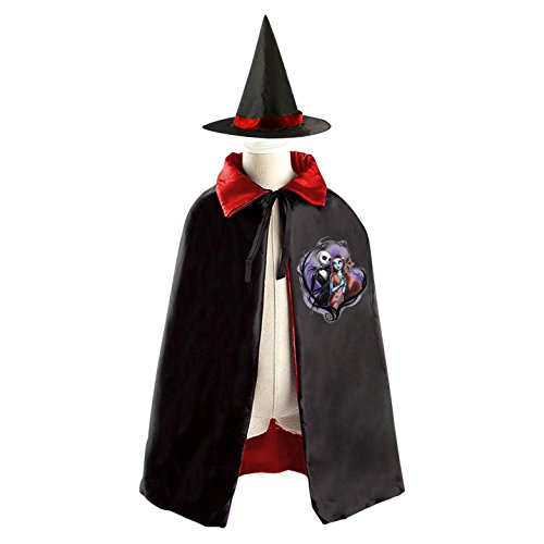 Halloween Nightmare Before Christmas Wizard Witch Kids Childrens' Cape With Hat Party Costume Cloak Red