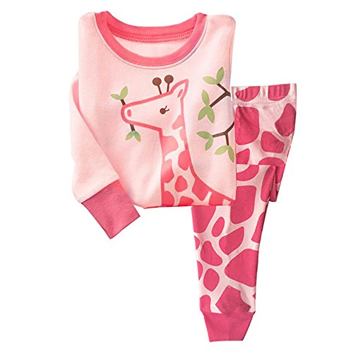 Little Girls Pajama 2 Piece Set 100% Cotton Giraffe Sleepwear for Children 2-7 T