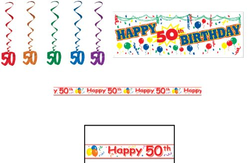 HAPPY 50th Birthday Party Decorations LOOK Who's 50/SIGN/Banner/WARNING TAPE/HANGING Whirls/DECOR/OLD/Over the HILL/FIFTY/FIFTIETH/Decor