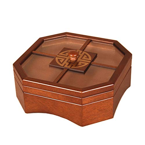 Natural Wooden Dried Fruit Box, Chinese Wooden Household Creative Plate with Lid Dried Fruit Candy Plate Compartment Octagonal Single Layer ()