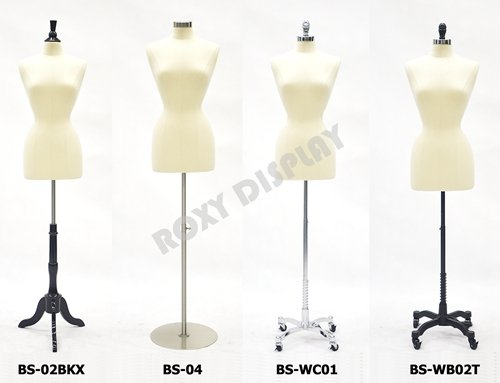 (JF-F2/4L+BS-WB02T) Female body form with linen white cover. Size 2-4 with Cast iron Black Caster Base (BS-WB02T) with Pole+Bolt Top. The wheels have brakes by ROXYDISPLAY™