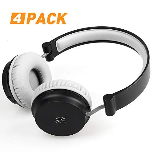 Lightweight Headphones–On-Ear Foldable Headsets with 6.3mm Stereo Adapter and Audio Splitter for AMP, Guitar, Piano, School (Adult/Teens) (4 Pack) [並行輸入品] B07RSQNSCS