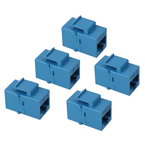 (Maxmoral 5-Pack CAT6 Keystone Coupler, RJ45 UTP Coupler Insert - Snap-in Connector Socket Adapter Port for Wall Plate Outlet Panel - Blue)